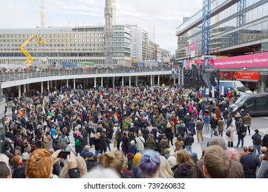 STOCKHOLM, SWEDEN - OCT 22, 2017: Lots of people supporting the #metoo campaign against sexual harassment at Sergels torg in Stockholm. October 22, 2017, Sweden