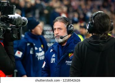STOCKHOLM, SWEDEN - OCT 31, 2018: Djurgardens IF (DIF) vs IFK Goteborg in a football game at Tele2 Arena in Stockholm. Djurgarden's coach Özcan Malkemichel