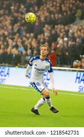 STOCKHOLM, SWEDEN - OCT 31, 2018: Djurgardens IF (DIF) vs IFK Goteborg in a football game at Tele2 Arena in Stockholm.
