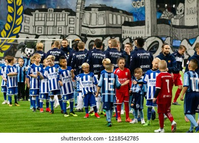 STOCKHOLM, SWEDEN - OCT 31, 2018: Djurgardens IF (DIF) vs IFK Goteborg in a football game at Tele2 Arena in Stockholm.