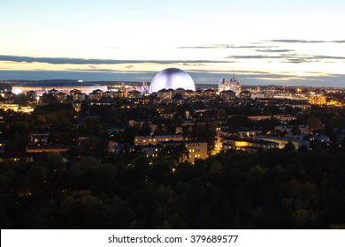 Stockholm, Sweden - Oct 8, 2015 : Sunset Scene of Stockholm City. View from Sodermalm towards the Ericsson Globe, the Stockholm Globe National Arena, and the Tele 2 Arena, is a multi-purpose stadium.