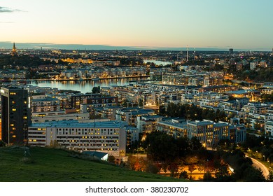 Stockholm, Sweden - Oct 8, 2015 : After sunset scene of Stockholm City Center. View from Sodermalm Island.