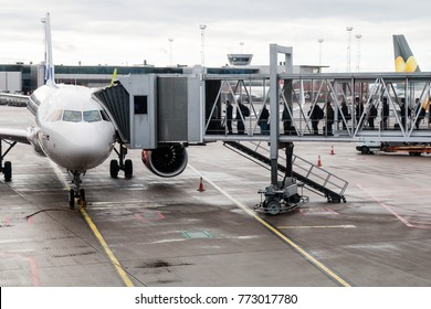 Stockholm, Sweden- October 13th 2017:Travellers boarding an airbus  aircraft along an airbridge