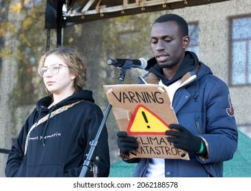 STOCKHOLM, SWEDEN - OCTOBER 22, 2021: Edwin Namakanga, Uganda. Participating in the Global Climate demonstration in Stockholm.