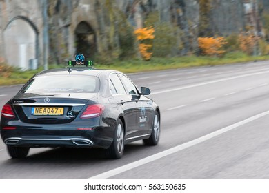 STOCKHOLM, SWEDEN - OCTOBER 26:the car of taxi service goes on city streets, SWEDEN - OCTOBER 26 2016.In Sweden taxi traffic is very developed