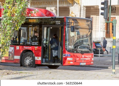 STOCKHOLM, SWEDEN - OCTOBER 26:the passenger bus goes down the street the cities, SWEDEN - OCTOBER 26 2016.In Sweden bus traffic is very developed