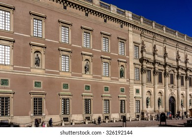 STOCKHOLM, SWEDEN - OCTOBER 8, 2015: View of Royal palace (or Stockholm Palace, 1697 â?? 1760) - official residence and major royal palace of Swedish monarch. Stockholm, Sweden.