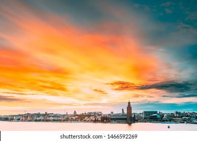 Stockholm, Sweden. Scenic Famous View Of Skyline Cityscape Embankment At Summer Sunset Sunrise. Famous Popular Destination Place Stockholm City Hall Stadshuset On Eastern Tip Of Kungsholmen Island.
