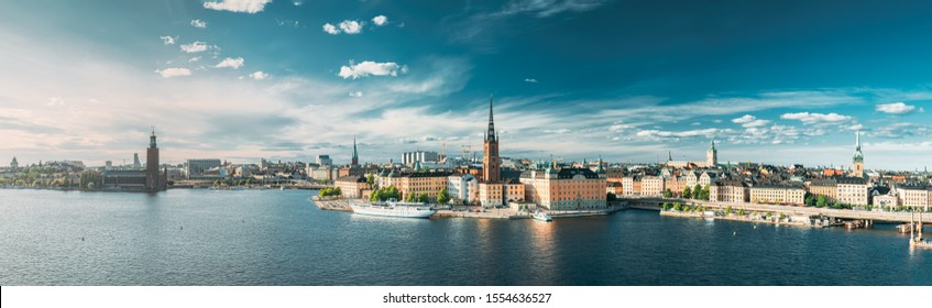 Stockholm, Sweden. Scenic View Of Stockholm Skyline At Summer Evening. Famous Popular Destination Scenic Place. Riddarholm Church In Panorama Panoramic View.