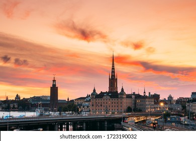 Stockholm, Sweden. Scenic View Of Stockholm Skyline At Summer Evening. Famous Popular Destination Scenic Place Under Dramatic Sky In Sunset Lights. Riddarholm Church, Subway Railway.