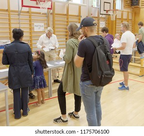 STOCKHOLM, SWEDEN - SEP 09, 2018: People voting in the general elections in Sweden 2018, September 09, 2018 in Stockholm, Sweden
