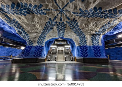 Stockholm, Sweden - Sep 19, 2015: Every Stockholm station has its own art decoration. One of the longest underground art gallery in the world. Stockholm Metro Art Collection after recent renovation.