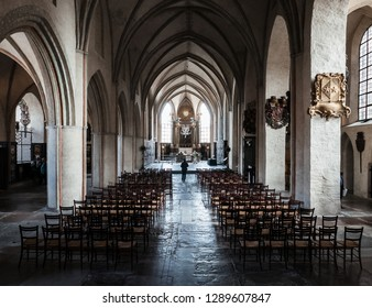 Stockholm, Sweden - Sep 23 2018: The magnificent interior of Riddarholmen Church in Stockholm.