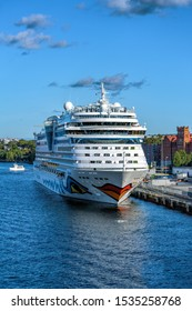STOCKHOLM, SWEDEN - Sep 25, 2019:  Sphinx class cruise passenger ship AIDAmar (2012) operated by AIDA Cruises at the pier on the island of Sodermalm at sunny autumn day.