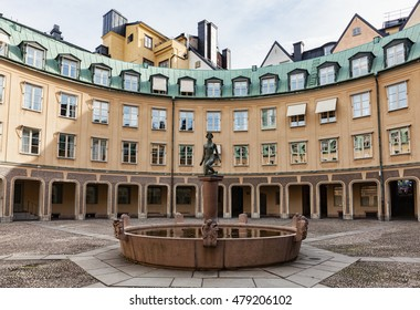 Stockholm, Sweden - Sep 6, 2016 : View of Square of Branting in Old Town, Stockholm,  Sweden