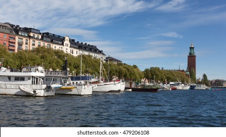 Stockholm, Sweden - Sep 6, 2016 : Panoramic view of Kungsholmen Island and the Stockholm city hall, Stockholm, Sweden.