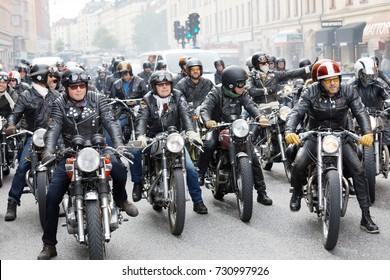STOCKHOLM, SWEDEN - SEPT 02, 2017: Motorbikers in leather clothes waiting for the start of the Mods vs Rockers event at the Saint Eriks bridge, Stockholm, Sweden, September 02, 2017