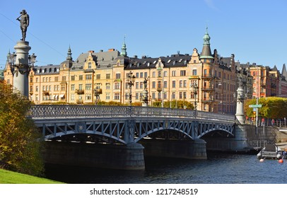 STOCKHOLM, SWEDEN - SEPT 25, 2018: Yurgordsbrun beautiful arch bridge (1897) to island Yuogorden