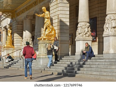 STOCKHOLM, SWEDEN - SEPT 25, 2018: Royal Dramatic Theatre has been at its present location in Art Nouveau building at Nybroplan since 1908. Main entrance