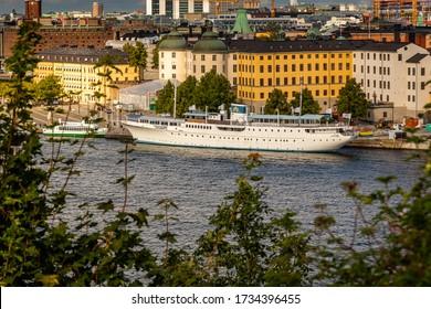 STOCKHOLM, SWEDEN - SEPTEMBER 12, 2015: City view from above of the famous hotel and restaurant ship Malardrottningen moored at Riddarholmen in Stockholm Sweden September 12, 2015.