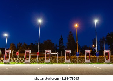 Stockholm, Sweden - September 13, 2018: Modern Tesla supercharger at night near Stockholm. Sweden.