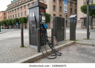 Stockholm, Sweden. September 2019.  column of a station for the supply of electric vehicles in the city center