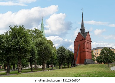 Stockholm, Sweden. September 2019. A view of the  John's wooden Bell Tower in the parl