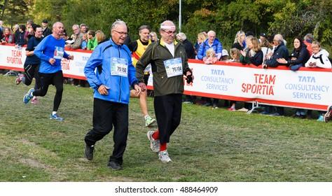 Stockholm, Sweden - September 24, 2016: Christer Grunder finish his number 52 Lidigo race (10 km), he have done all Lidingo race so far.