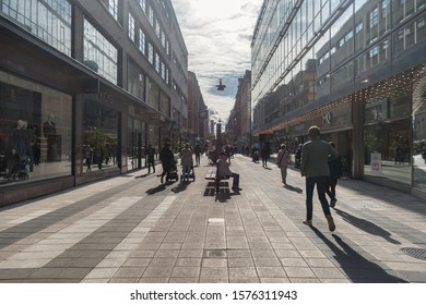 Stockholm, Sweden - September 24, 2019: Drottninggatan (Queen Street) in Stockholm, Sweden, is a major pedestrian street.