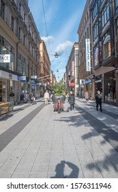 Stockholm, Sweden - September 24, 2019: View of Drottninggatan pedestrian street.