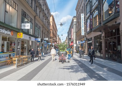 Stockholm, Sweden - September 24, 2019: Drottninggatan (Queen Street). Major pedestrian street in Stockholm.