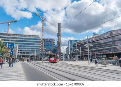 Stockholm, Sweden - September 24, 2019: View of street Drottninggatan with Sergels torg.