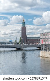 Stockholm, Sweden - September 24, 2019: View Vasabron bridge (the Vasa Bridge) with Stockholms stadshus in background from Riksgatan bridge.