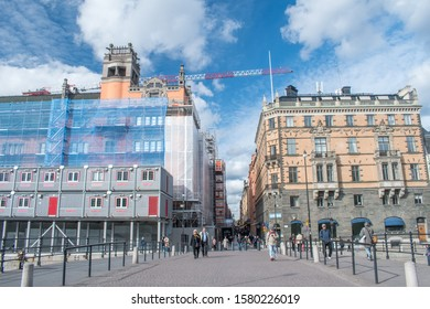 Stockholm, Sweden - September 24, 2019: View Drottninggatan street from Riksbron bridge.