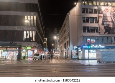 Stockholm, Sweden - September 24, 2019: Drottninggatan near Ahlens City mall at night.