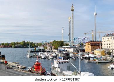 STOCKHOLM, SWEDEN - SEPTEMBER 29, 2018: Amusement park Grona Lund in Stockholm, Sweden, September 29, 2018.