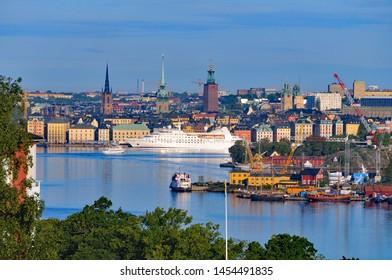 Stockholm Sweden - September 3 2011: Cruise ship SEABOURN PRIDE entering the harbour of Stockholm. Early morning