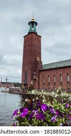 Stockholm, Sweden - September 6 2020 : City Hall, Stadshus, Stadshuset. Stockholm City Hall is the building of the Stockholm City Council in Sweden. It is located at the eastern tip of Kungsholmen Isl