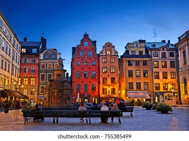 "STOCKHOLM, SWEDEN- September 7, 2016. Stortorget square in Gamla Stan, the ""old town"" of the Swedish capital."