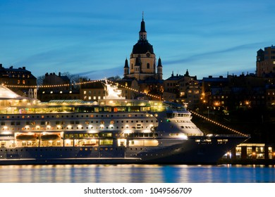 Stockholm Sweden sunset and a cruise ship