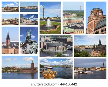 Stockholm, Sweden travel photos collage. Collage includes major landmarks like Gamla Stan (Old Town), Sodermalm island and Parliament.