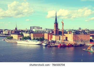 Stockholm, Sweden. View of famous Gamla Stan (the Old Town), Riddarholmen island. Restaurant and hotel ship.