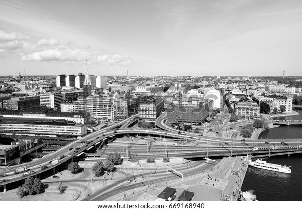 Stockholm, Sweden. View of Norrmalm borough from City Hall. Black and white vintage photo style.