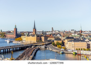 Stockholm, Sweden-07.10.2018: Stockholm skyline and old town (Gamla Stan).Panoramic view of Old Town (Gamla Stan) in Stockholm, Sweden