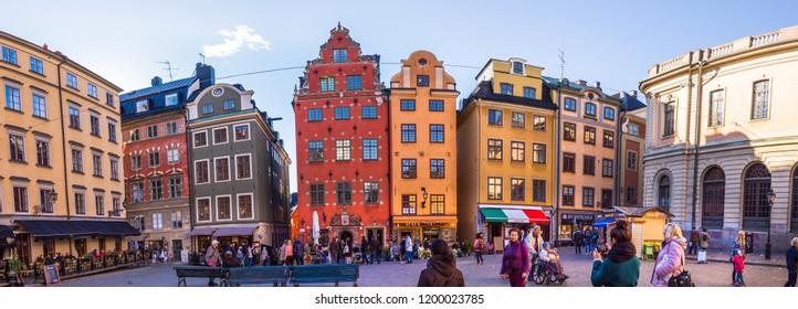 Stockholm, Sweden-07.10.2018:Stockholm, Sweden.Old town of Stockholm (Gamla Stan district)- popular touristic attraction.