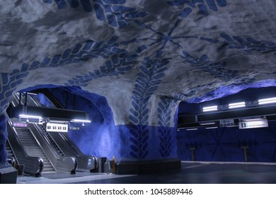 Stockholm, T-Central / Sweden - 23.07.2016: Stockholm's underground museum of subway station and Swedish people