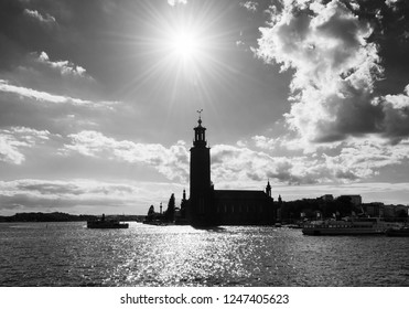 Stockholm town hall. Scenic summer view of the Old Town in Stockholm, Sweden