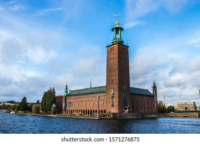 Stockholm Town Hall (Stockholms Stadshus). A huge town hall with a very high tower, the building is made of bricks, from this place is a very nice view on Gamla Stan