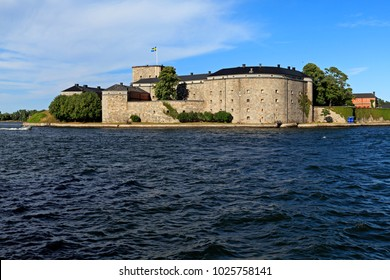 Stockholm, Vaxholm Island / Sweden - 2013/08/01: XVI century fortress Vaxholm situated on the island of Vaxholm - within the Stockholm region