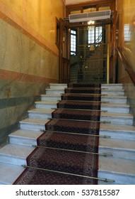 STOCKHOLM-SEPT.8:Entry steps to old, historic Bentleys Hotel building with antique elevator as seen in Stockholm, Sweden on September 8, 2016.